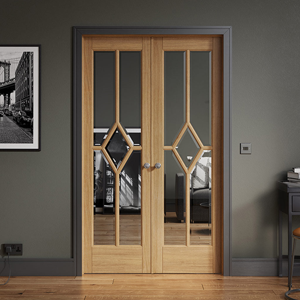 W4 Reims Room Divider Door & Frame Kit - Bevelled Clear Glass - Prefinished Oak - 2031x1246mm Wide