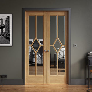 Image: W4 Reims Room Divider Door & Frame Kit - Bevelled Clear Glass - Prefinished Oak - 2031x1246mm Wide