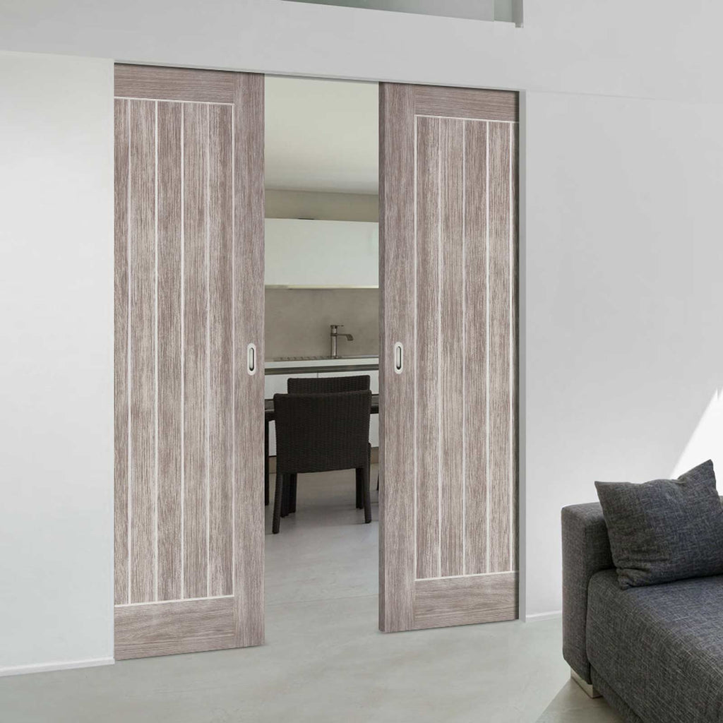Laminate Mexicano Light Grey Absolute Evokit Double Pocket Doors - Prefinished