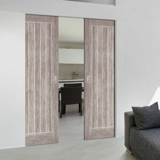 Image: Laminate Mexicano Light Grey Absolute Evokit Double Pocket Doors - Prefinished