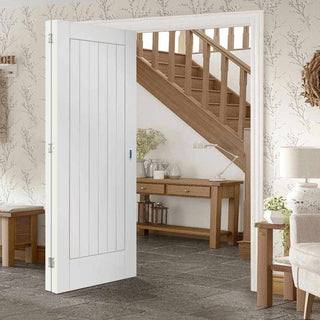 Image: Two Folding Doors & Frame Kit - Suffolk Flush 2+0 - White Primed