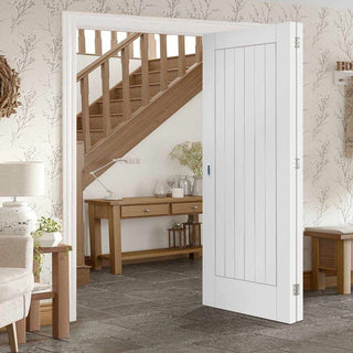 Image: Bespoke Thrufold Suffolk Flush White Primed Folding 2+0 Door