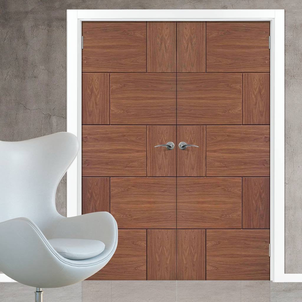 Bespoke Ravenna Walnut Flush Door Pair - Prefinished