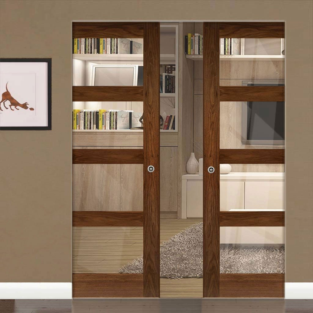 Coventry Walnut Shaker Style Absolute Evokit Double Pocket Doors - Clear Glass - Prefinished