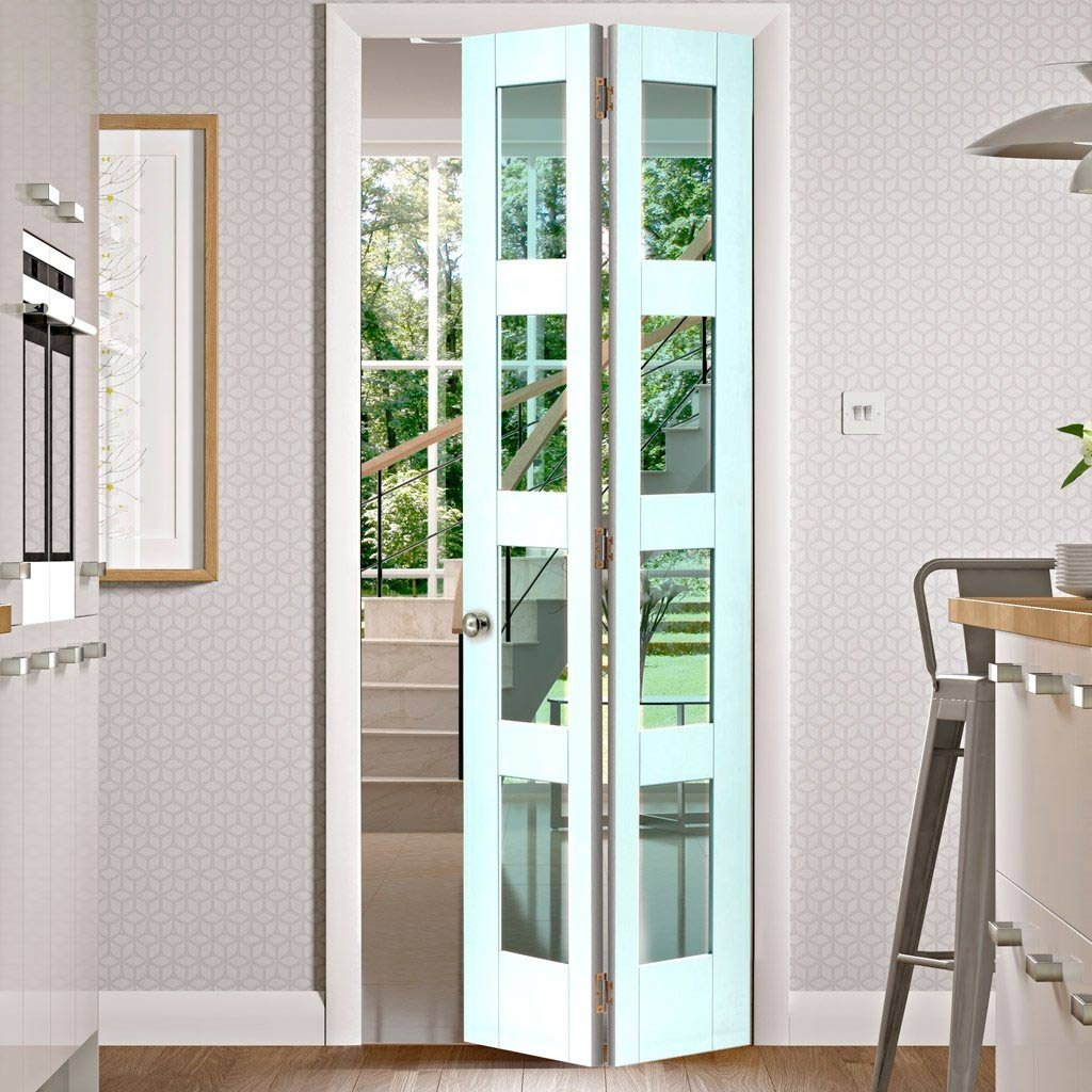 Shaker 4L Bifold Door - White Primed