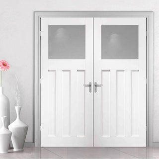 Image: Bespoke DX 1930's White Primed Glazed Door Pair