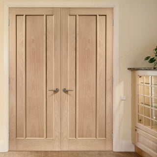 Image: Bespoke Worcester Oak 3 Panel Door Pair - Prefinished