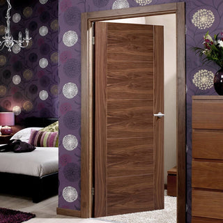 Image: Vancouver Walnut 5 Panel Flush Fire Door - 1/2 Hour Fire Rated - Prefinished