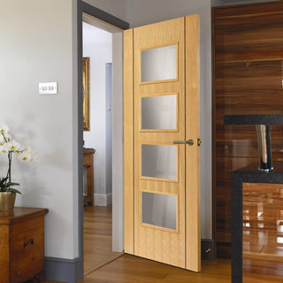 Image: Blenheim Oak Veneer Door - Clear Glass is Prefinished