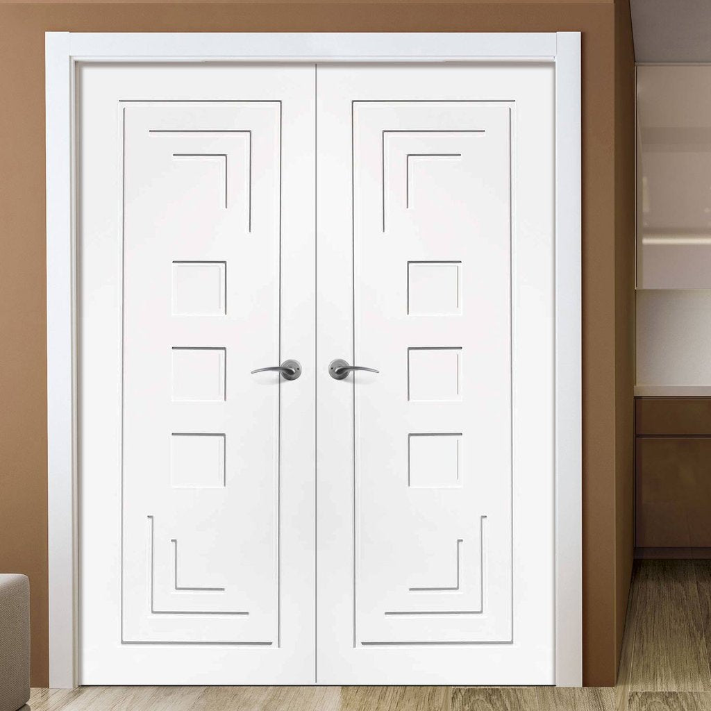 Bespoke Altino Flush Door - White Primed Pair