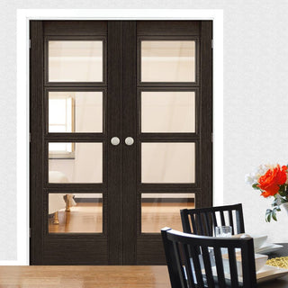 Image: Montreal Dark Grey Ash Door Pair - Clear Glass - Prefinished