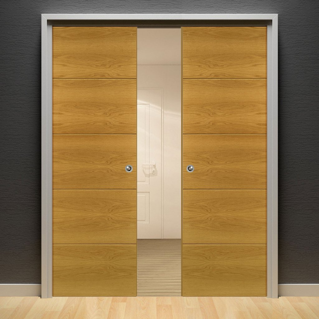Augusta Real American White Oak Crown Cut Veneer Double Evokit Pocket Doors - Prefinished