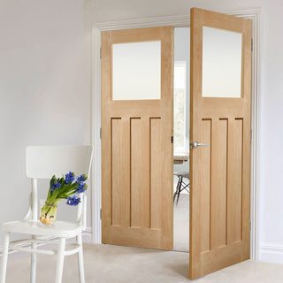 Image: Bespoke DX Oak 1930's Style Glazed Door Pair