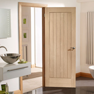 Image: bespoke suffolk oak 1 panel door prefinished
