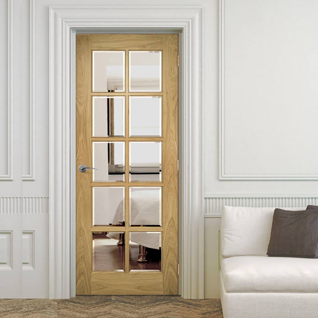 Bristol Oak Unfinished Door - 10 Pane Clear Bevelled Glass