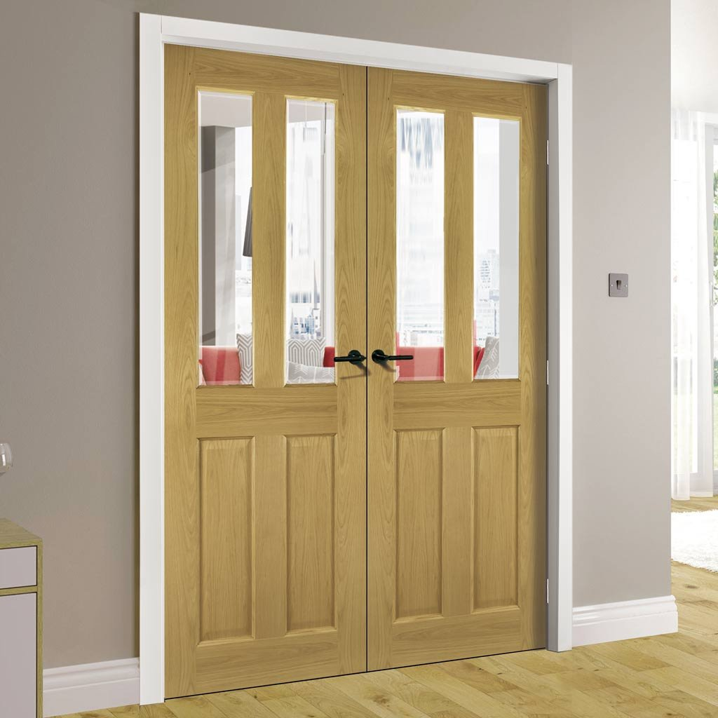 Bury Real American White Oak Crown Cut Veneer Door Pair - Clear Bevelled Glass - Prefinished