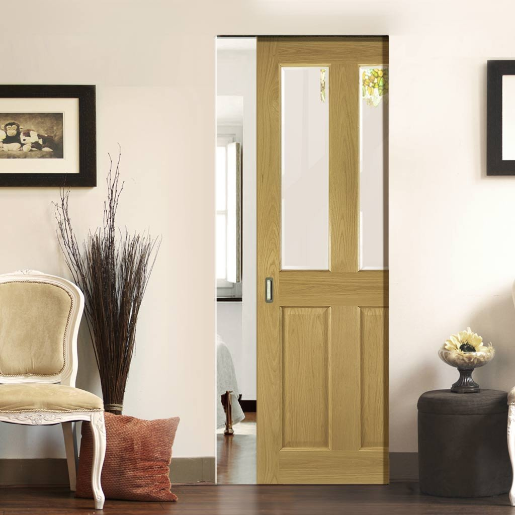 Bury Oak Absolute Evokit Single Pocket Door - Clear Bevelled Glass - Prefinished