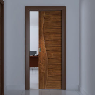 Image: Contemporary Design Cadiz Walnut Single Evokit Pocket Door - Prefinished