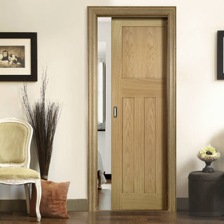 Image: Cambridge Period Oak Single Evokit Pocket Door - Unfinished