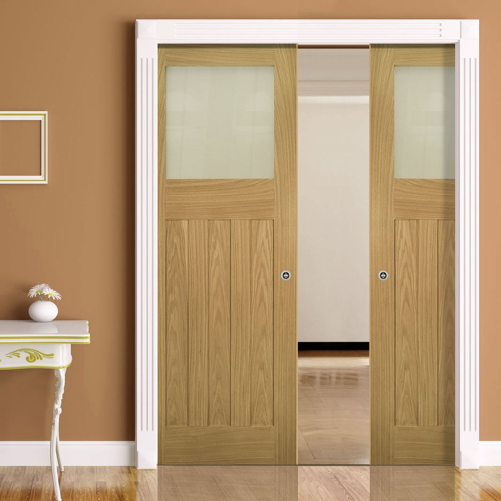 Cambridge Period Oak Double Evokit Pocket Doors - Frosted Glass - Unfinished
