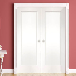 Image: Bespoke Cesena White 1 Panel Door Pair - Prefinished