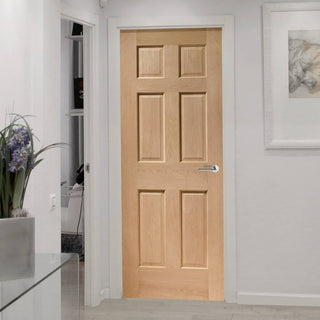 Image: Bespoke Colonial Oak 6 Panel Door without Raised Mouldings