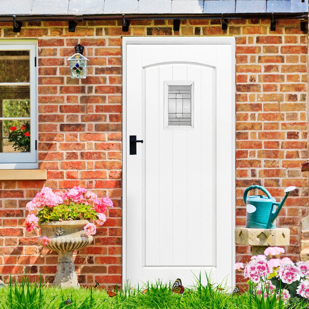 GRP White Cottage Composite Door - Leaded Double Glazing