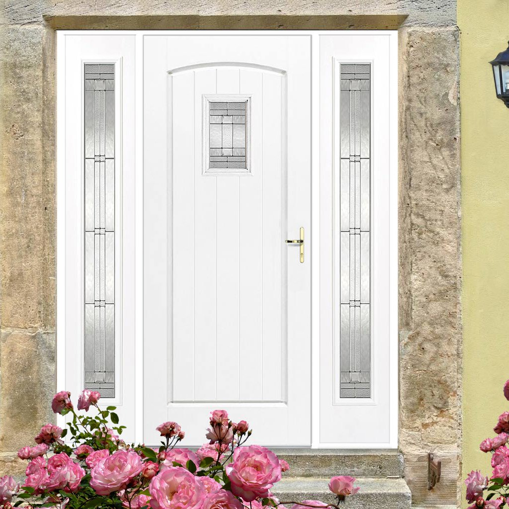 GRP White Cottage Glazed Composite Door - Two Sidelights
