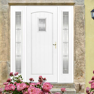 Image: GRP White Cottage Leaded Double Glazed Composite Door - Two Leaded Sidelights