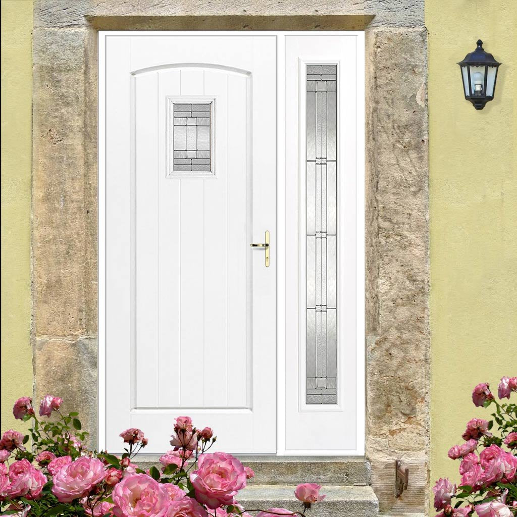 GRP White Cottage Leaded Double Glazed Composite Door - Leaded Single Sidelight