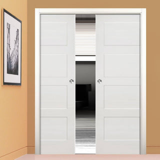 Image: Coventry Shaker Double Evokit Pocket Doors - White Primed
