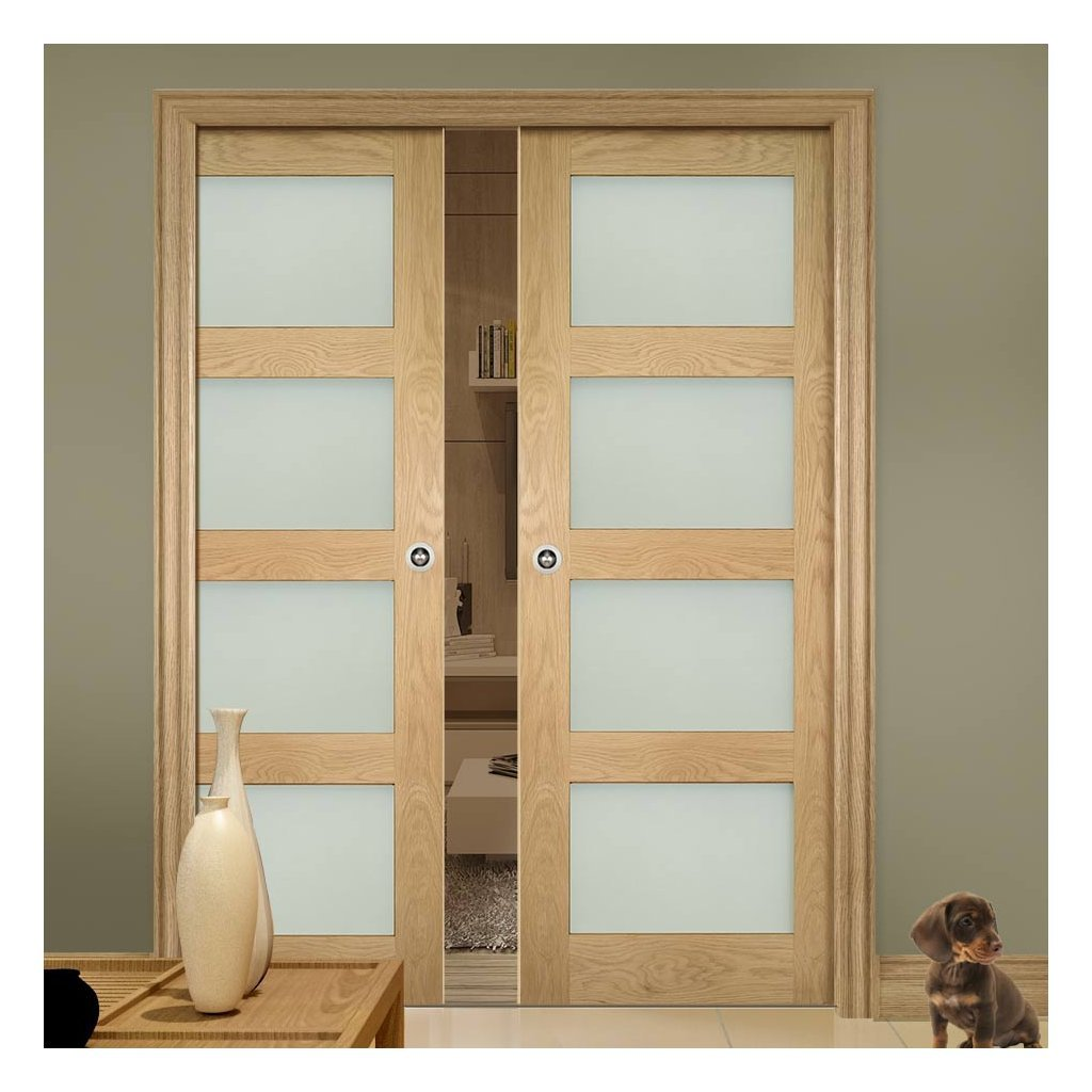 Coventry Shaker Style Oak Double Evokit Pocket Doors - Frosted Glass - Unfinished