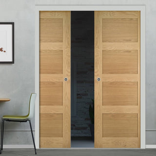 Image: Coventry Shaker Style Oak Double Evokit Pocket Doors - Unfinished