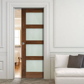 Image: Coventry Walnut Shaker Style Single Evokit Pocket Door - Frosted Glass - Prefinished