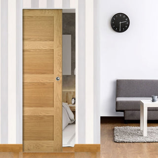 Image: Coventry Shaker Style Oak Absolute Evokit Double Pocket Doors - Unfinished