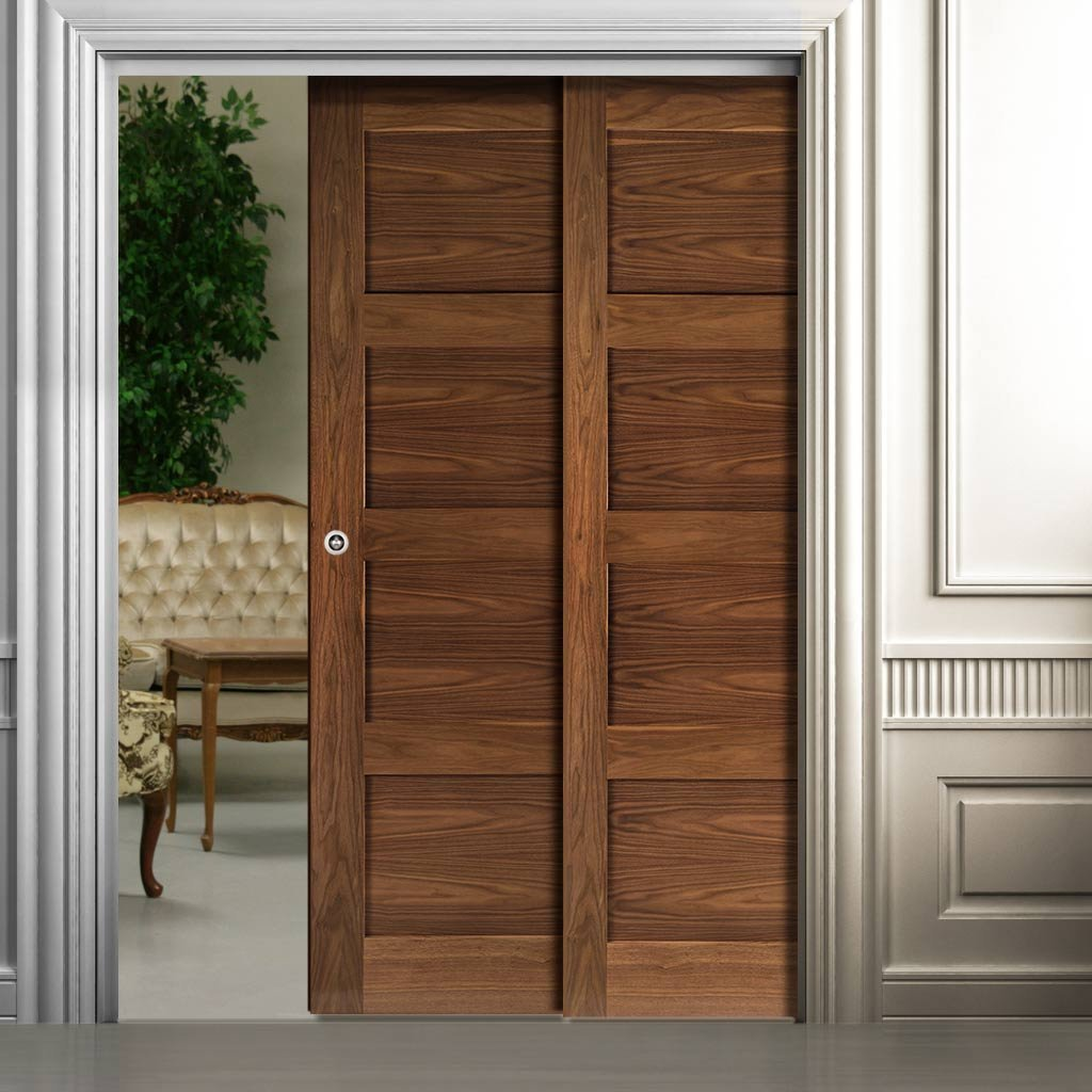 Coventry Walnut Veneer Shaker Style Staffetta Twin Telescopic Pocket Doors - Prefinished
