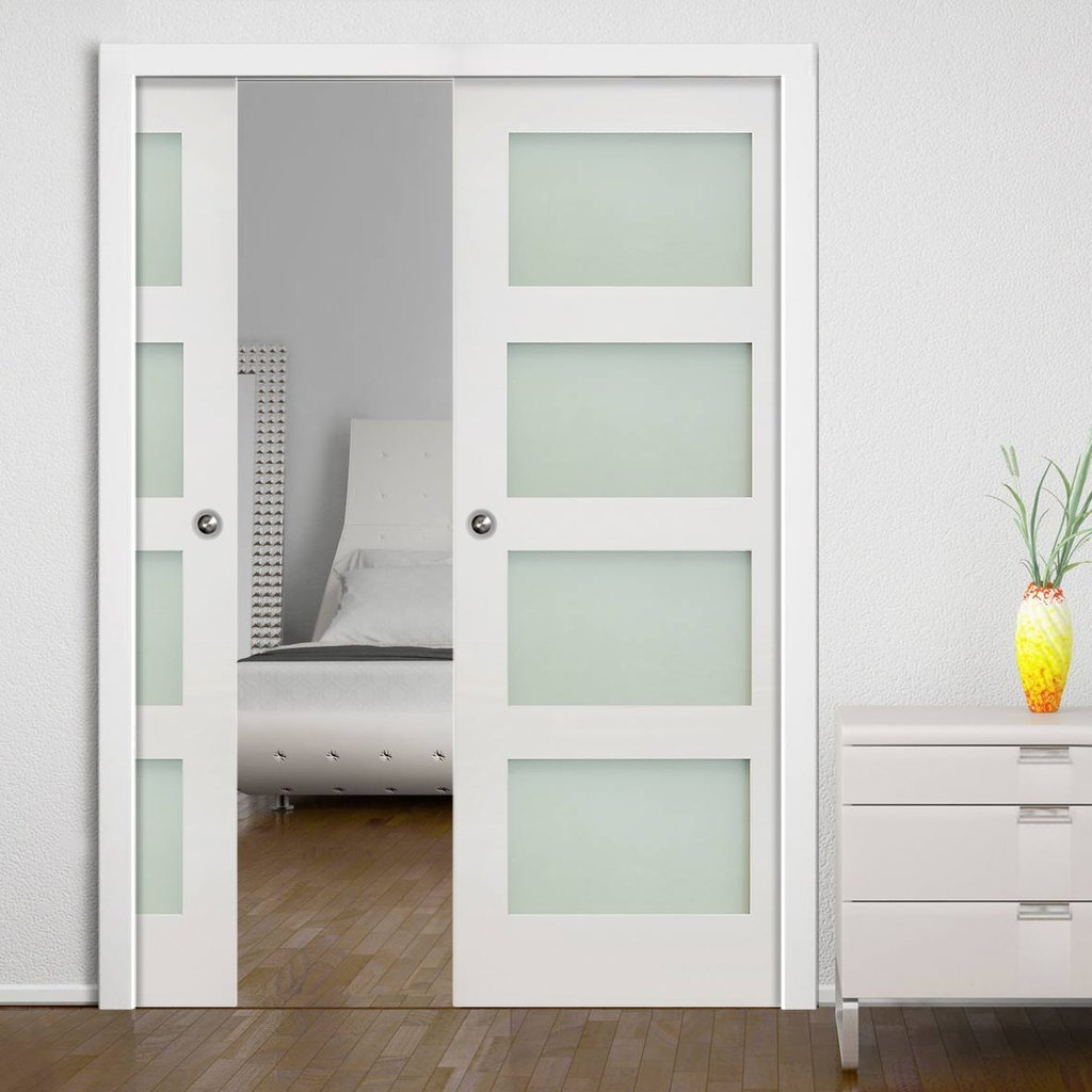 Coventry Shaker Double Evokit Pocket Doors Frosted Glass