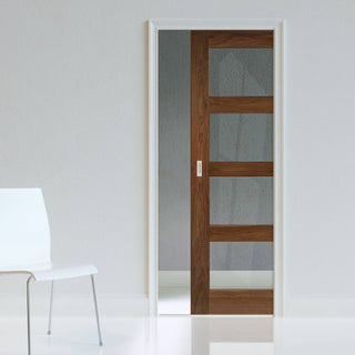 Image: Coventry Walnut Shaker Style Single Evokit Pocket Door - Clear Glass - Prefinished
