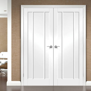 Image: Worcester 3 Panel Fire Door Pair - White Primed - 30 Minute Fire Rated