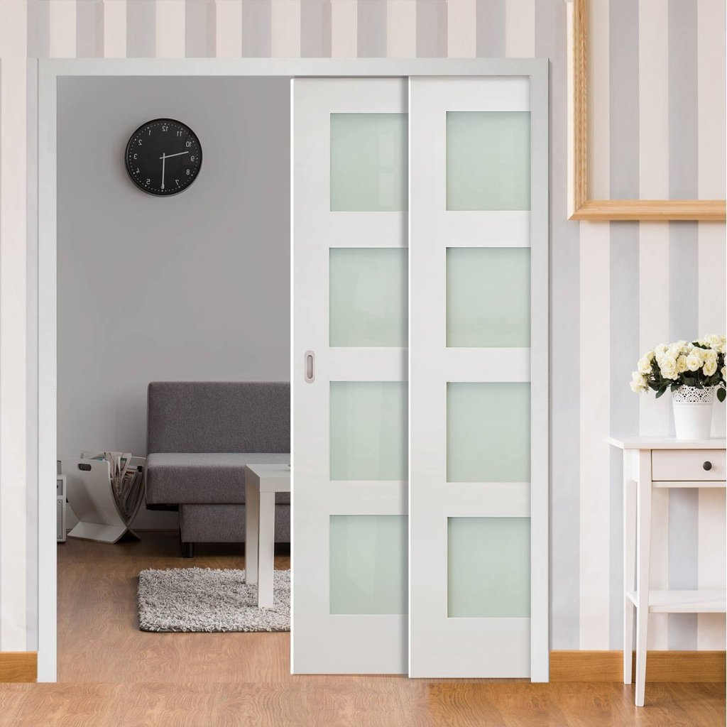 Coventry Shaker Staffetta Twin Telescopic Pocket Doors - Frosted Glass - White Primed