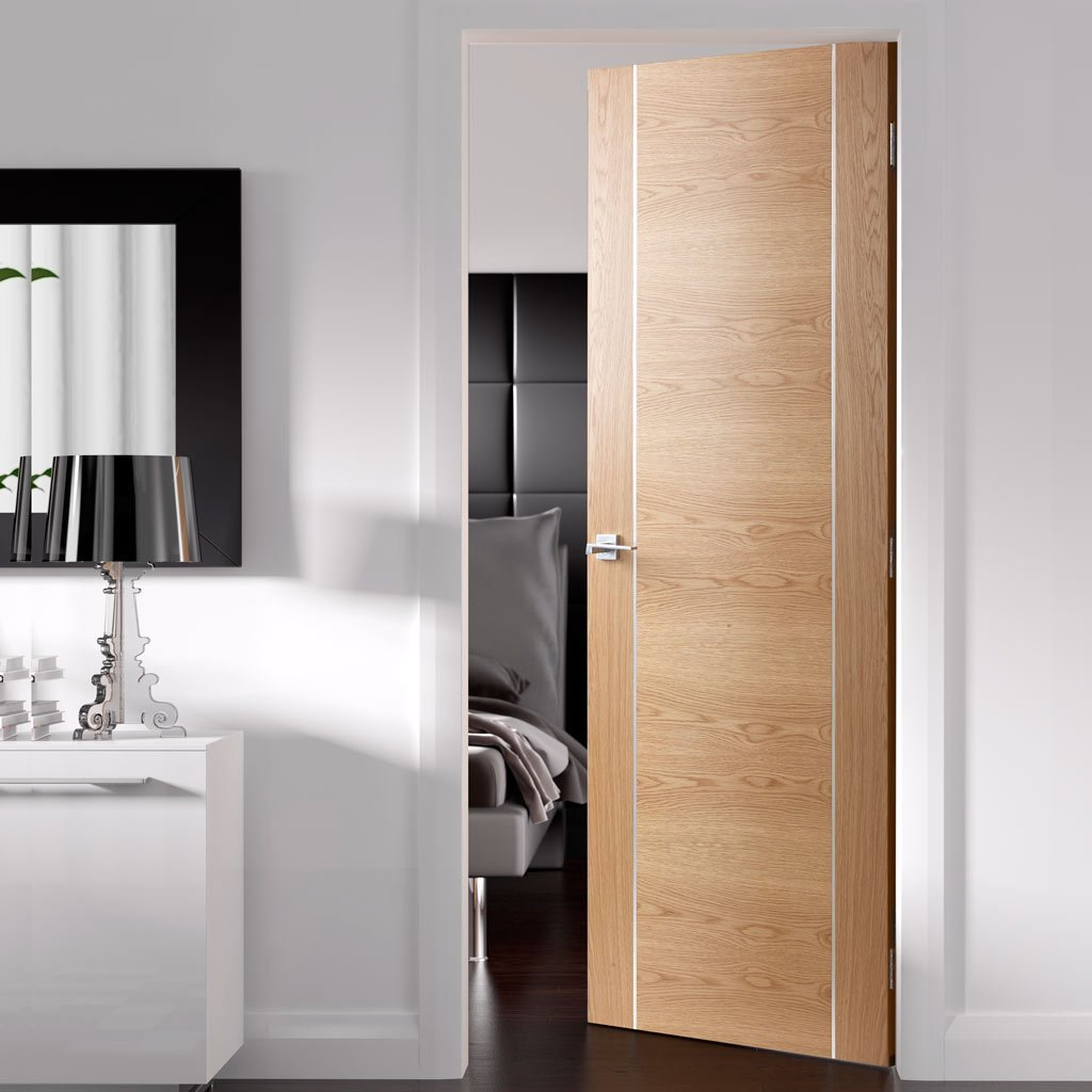 Forli Oak Flush Door - Aluminium Inlay - Prefinished - From Xl Joinery
