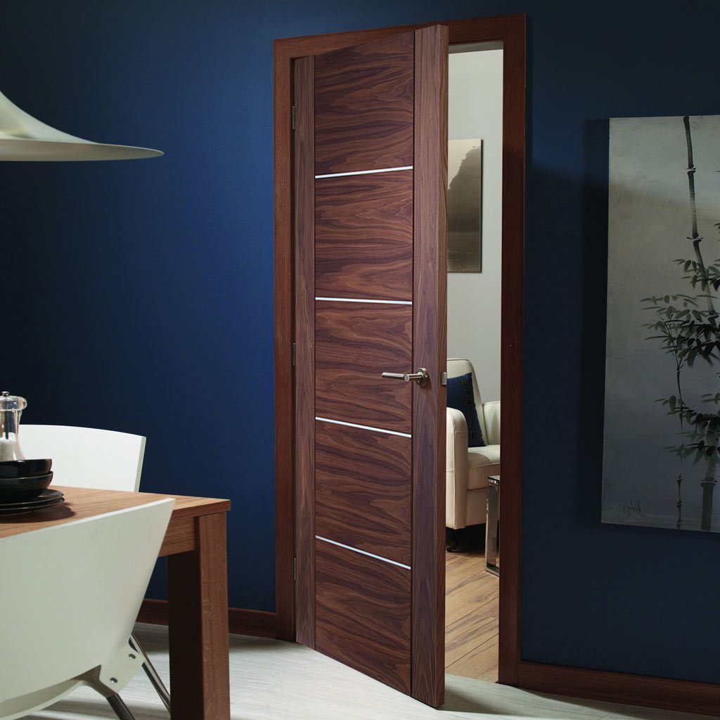 Fire Rated Portici Walnut Door - Aluminium Inlay - Half Hour Rated - Prefinished