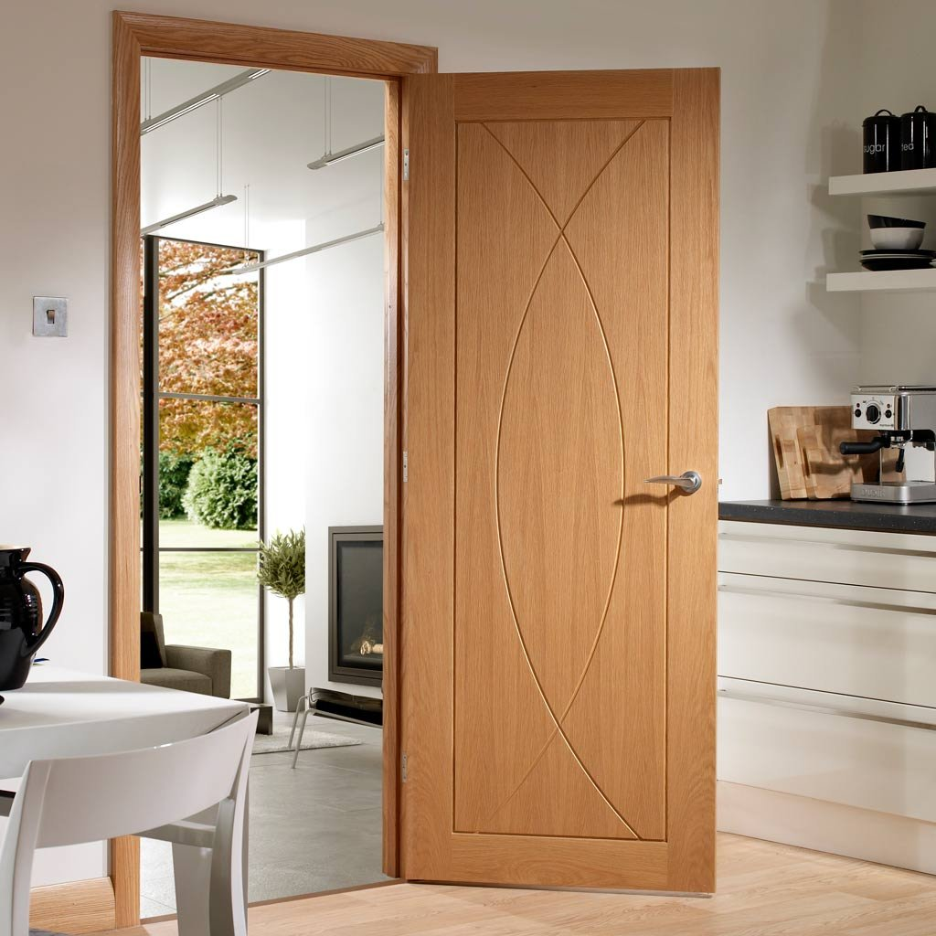 Door and Frame Kit - Pesaro Oak Flush Door - Prefinished