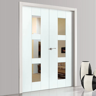 Image: J B Kind Geo White Primed Door Pair - Clear Glass