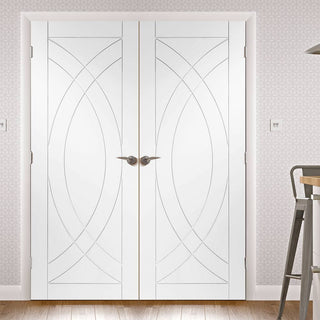 Image: Simpli Double Door Set - Treviso Flush Door - White Primed