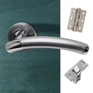 Image: Saturn Door Handle Pack - Polished Chrome - Satin Nickel