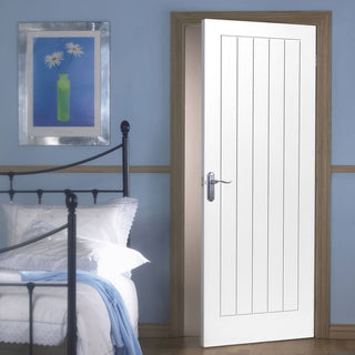 Image: White Fire Door, Mexicano Door - Vertical Lining - 1/2 Hour Rated - White Primed