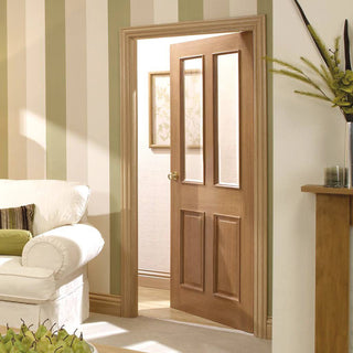 Image: Door and Frame Kit - Richmond Oak Door - Raised Mouldings - Bevelled Clear Glass