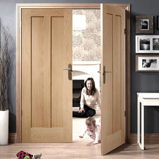 Image: Novara Oak 2 Panel Door Pair