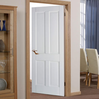 Image: White Fire Door, Canterbury 4 Panel DSN Door - 1/2 Hour Rated - White Primed